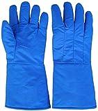 MHYNLMW Flüssiger Stickstoffschutz Frostschutzhandschuhe flüssige Ammoniak Eishandschuhe Frostschutzmittel Kälte Aufbewahrung geeignet Trockenes EIS Kalt Lagerung Biologische Forschung, blau, 38 cm