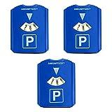 HAC24 3er Set Parkscheibe mit Eiskratzer und Gummilippe Kunststoff Auto Parkuhr 15,5x12 cm Blau