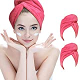 Hairizone 2 Ultra saugstarke Mikrofaser-Handtücher für die Haare, schnell trocknender Handtuch-Turban mit elastischer Schlaufe für alle Haartypen (ROSEO/ROSEO)