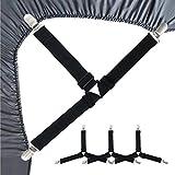 yuiopps 3-Wege Verstellbare Bettlakenspanner,Elastisch Bettlakenclips mit Metallclips,Spanner Betttuchspanner,Tischtuchspanner Lakenhalter für Bettwäsche, Matratzenbezüge & Sofakissen,4 Stück