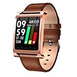 Fitness Tracker and Blood Pressure HR Monitor - Upgraded Activity Tracker Watch with Heart Rate Color Display IP68 Pedometer Calorie Counter, Brown