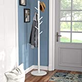 Vlush Garderobenständer Freistehend Baum Kleiderständer mit Runder Basis für Kleidung, Schals, Handtaschen, Regenschirm, 8 Haken (Weiß)
