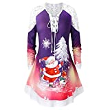 Mitlfuny Halloween coustems Kürbis Hexe Cosplay Gast Ghost Schicke Party Halloween deko,Large Size Lace Ärmel mit einem Weihnachtsmann Weihnachten Frauen T-Shirt gebunden