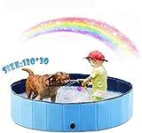 New-wish Hundepool Schwimmbad für Hunde, Hundeplanschbecken Hundebad, Klappbares Haustier-Duschbecken mit Umweltfreundlichem PVC rutschfest (L-120*30cm)