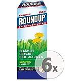 Gardopia Sparpaket: Roundup Rasen-Unkrautfrei Konzentrat Unkrautvernichter, 6 x 500 ml + Zeckenzange mit Lupe