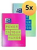 Oxford 400130117 Collegeblock B5 5er Pack punktkariert 2 neon Farben mit Spruch Power in your Hands 80 Blatt mit Mikroperforation dotted grün und pink