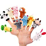 Jourbon 10 Stücke Fingerpuppen Weicher Party Mitgebsel Cartoon Tier Hand Spielzeug Plüsch Füllstoffe Tierfingerpuppen Set