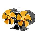 KLOVA 10 Blades Home Kaminofen Ventilator Wärmebetriebener Ventilator Effiziente Wärmeverteilung verteilt warme Luft durch das Haus Gold