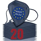 20x FFP2 blau [MADE IN EU] - FFP2 Maske blau CE zertifiziert nach EN 149:2001 + A:2009 - Blau-farbige FFP2 Maske CE zertifiziert - FFP2 Maske bunt in blau - atmungsaktive FFP2 Masken blau aus Europa