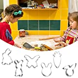 Lukame 6Pcs Rostfreier Stahl Kuchenform, Plätzchenform Ausstecher Cutter, Kaninchen Karotte Schmetterling Muster Keks Form