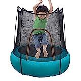 LXXTI Trampolin Outdoor Kinder, Trampolin Für Kinder Drinnen Mit Sicherheitsnetz, Heimgebrauch Wasserdichtes Tragbares Faltbares Gartentrampolin, Blau