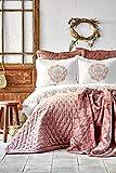 Karaca Home Chester Powder Bettwäsche-Set, 10-teilig, Bettbezug: 100 % Baumwolle, Tagesdecke: 100 % Polyester, Decke: 100 % Polyester