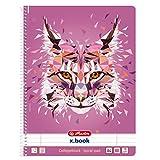 herlitz 50027804 Spiralblock A4, 80 Blatt, liniert, Motiv: Wild Animals Luchs, 1 Stück