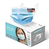 HARD 50x Kinder Medizinischer Mundschutz, Made in Germany, TYP IIR OP-Maske, CE zertifiziert EN14683 99,78% BFE 3-lagig, schützende Mund-Nasen-Bedeckung, Einweg-Gesichtsmasken - Blau