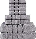Utopia Towels - Kühl Grau Handtuch-Set 8 - Stück, Viskose-Streifen-Handtücher - 600 GSM Ring Spun Baumwolle - hochabsorbierende Handtücher (Packung mit 8)