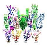 LLGL Plastikpflanzen für Aquarien, 11-teilig Künstlich Wasserpflanzen Kunststoff Pflanzen Kunststoffpflanzen Aquariumpflanze Fisch Tank Dekoration (Grün-Purple)