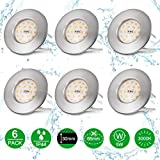 Otour LED Bad Einbaustrahler ultra flach 25mm inkl. 6 x 5W LED Modul 230V IP44 Bad LED Badeinbaustrahler Einbauleuchte 3000K Warmweiss 500lm Rund Bad LED Deckenstrahler Einbauspot 6pack