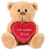 Brubaker Teddy Plüschbär mit Herz Rot - Ich Liebe Dich - 25 cm - Teddybär Plüschteddy Kuscheltier Schmusetier - Braun Hellbraun