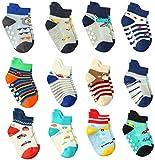 12 Paar Kleinkind Jungen ABS Rutschfeste Socken Nette Baumwolle mit Griffen, Baby Jungen Anti Rutsch Socken (12 Paare, 12-36 Monate)