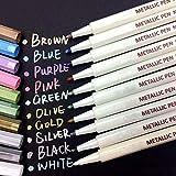Metallic-Markerstifte, Textmarker, 10 Farben für Fotoalbum, zum Zeichnen von Alben, Basteln, Karten, Verwendung auf jedem Papier, Glas, Kunststoff, Keramik, Holz