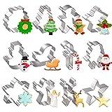 Joyoldelf Ausstecher Weihnachten, Ausstechformen Weihnachten 12 Stück, Keksausstecher Weihnachten Edelstahl, Plätzchenausstecher- zum Ausstechen von Plätzchen, Keksen, Fondant