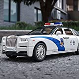 Xolye 1:24 Tür öffnende Polizeiauto Model Ornamente Legierung Sound und Licht Ziehen Sie Spielzeug Auto Jungen Geschenk Metall Shatter-resistente und spielbare Kinderspielzeugauto