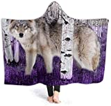 TYHYT Decke Warm Hoodie Blanket White Wolf Purple Hooded Throw Wrap Cape Cloak Bathrobe Kids Durable...