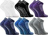 Rainbow Socks - Damen Herren Quarter Sport Socken ABS - 6 Paar - Dunkel - Größen EU 36-38
