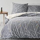 Bedsure Baumwolle Bettwäsche 135x200 cm Grau/Beige Bettbezug Set mit schickem Zweige Muster, 2 teilig weiche Flauschige Bettbezüge mit Reißverschluss und 1 mal 80x80cm Kissenbezug