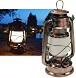 ChiliTec LED Camping Laterne Garten-Laterne Retro Design I Dimmbar Batteriebetrieb 4x AA Mignon 23,5cm Bügel Warmweiß