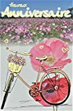 Glckwunschkarte zum Geburtstag, Blumenfeld, Rosen, Cosmos, Mohn, Fahrrad, Korb mit goldfarbener Vergoldung, hergestellt in Frankreich