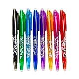 WANGUP Radierbar Tintenroller Stift, 0,5 mm Feinpunkt, 8 Stück Farbig Sortiert, Wärme Reibung Erasable Gel Ink Pens zum Lernen und Arbeiten