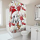 YxueSond Christmas Animal Happy Duschvorhang Wasserdicht Anti-Schimmel Digitaldruck Wohnaccessoires White 180x200cm