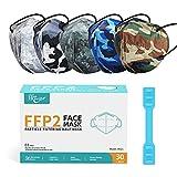 KKmier FFP2 Maske Mundschutzmasken 5 Lage Filterschutz Einweg-Atemschutzmasken Einzel Verpakt 30 Stück Fünffarbige Tarnung