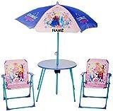 alles-meine.de GmbH Sitzgruppe - Tisch + 2 Kinderstühle + Sonnenschirm -  Disney die Eiskönigin - Frozen  - incl. Name - für Kinder - Campingstuhl - Klappstühle / kippsicher - ..