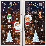 BOZHZO Fensterbilder Weihnachten Selbstklebend Weihnachtsaufkleber, 313 pcs Schneeflocken Aufkleber Fenster Sticker Weihnachtsdeko Netter Weihnachtsmann Statisch Haftende PVC Aufklebe Fenstersticker