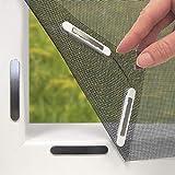 Hoberg Fenster-Fliegengitter mit innovativer Magnetbefestigung | Bis zu 150 x 130 cm individuell zuschneidbar, kein Bohren oder Schrauben, 16 Magnet-Clips