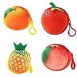 FINIVE 4 Stück 3D Fruchtball Münzen Geldbörse Kurz Plüsch Mini Reißverschluss Brieftasche Kopfhörer Aufbewahrungstasche 4 Stück.