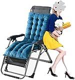 TUHFG Liegestuhl Loungesessel Kissen, Garten Sun Lounger Kissen Sitze Bett Dicke Gepolsterte Außenterrasse Recliner Relaxer Stuhlabdeckung, 160 * 50 * 10 cm.(Farbe blau) (Color : Blue)