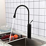 ZGZNB Black Brushed Kitchen Faucets Stainless Steel Hot and Cold Water Mixer Tap Deck Mounted Water...