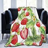 Olverz Kuscheldecke, süße Erdbeeren, Blätter, Blume, flauschig, warm, für alle Jahreszeiten, Umarmungsdecke, farbecht, Sofadecke, bequeme Plüschdecke für Auto, Bett, Zuhause, Camping, 127 x 101 cm