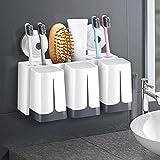 TZSMYSJ TZSZWJ Einhängegestell Multifunktionsdusche Zahnbürstenhalter der Wand befestigte Familie Storage Box Set, 10 Slots und 3 Gurgeln Cups, for WC Badezimmer Z5W0J9