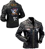 Gearswears Herren Jacke aus echtem Leder in Schwarz, elegant, amerikanischer Adler Design, Motorradjacke für Herren Gr. XXX-Large, Schwarz