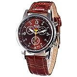 Kaitoly Modische Armbanduhr, Herren, modisch, luxuriös, Krokodillederimitat, Edelstahl, Analoguhr, blau