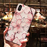 WotheCase Handyhülle,Für Das iPhone 11 7 8 7 8 Plus X Xs Xr Xs Max Case,Geprägte Weiss Violett Cherry Pattern Design Weiche Flexible TPU Zurück Hülle,for iPhone Xsmax 6.5(Inch)