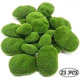 Grüne Moosbälle Künstliche Moos Steine, Woohome 25 Stück 2 Größe Künstliche Moosfelsen Dekorative Kunststeine für Feengärten, Blumenarrangements, Terrarien und Handwerk