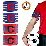 chudian 4 Stück Fußball Kapitänsbinde, Captain Armband Einstellbare Armbinde Spielführerbinde Klettverschluss für Erwachsene geeignet für Soccer Rugby (Rot, Blau)