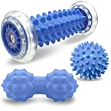 Osaloe Fußmassageroller, Massageball Set aus Igelball und Verbundenem Faszienball - Stress Reflexzonenmassage, Tiefengewebemassage, myofasische Freisetzung, Übung