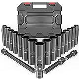 Steckschlüsselsatz, 20-teilig Schlagschrauber Nüsse Set mit 1/2'' Antrieb, 3/8'' Stecknuss Adapter, 9-24mm Sechskant Nuss und 3'', 5'', 10'' Verlängerungsstangen