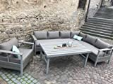 MEINiShop Essgruppe Dream Dining-Lounge 160 5-teilig Alu Taupe Polywood